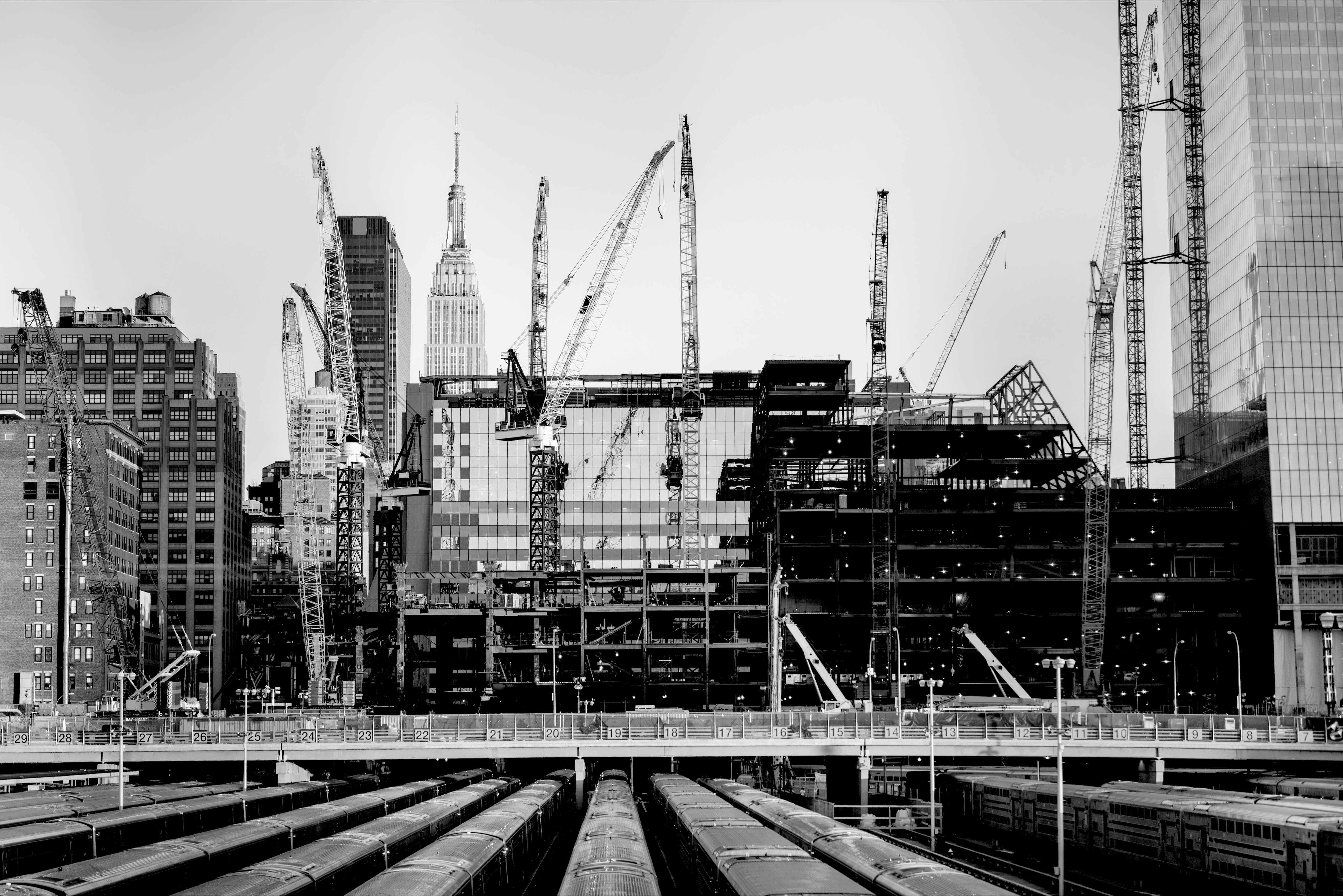 buildings under construction and cranes in New York City